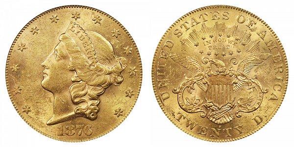 1876 S Liberty Head $20 Gold Double Eagle - Twenty Dollars