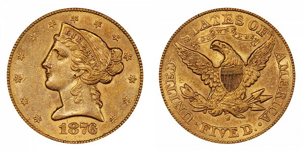 1876 S Liberty Head $5 Gold Half Eagle - Five Dollars