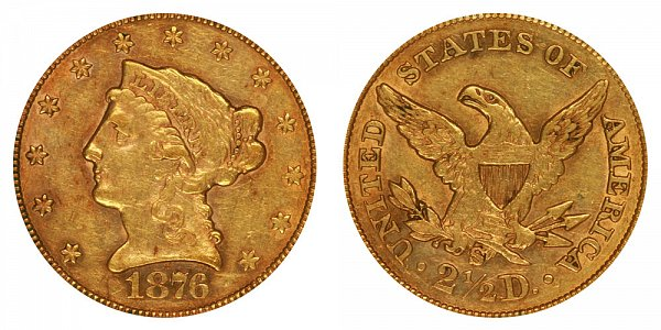 1876 S Liberty Head $2.50 Gold Quarter Eagle - 2 1/2 Dollars