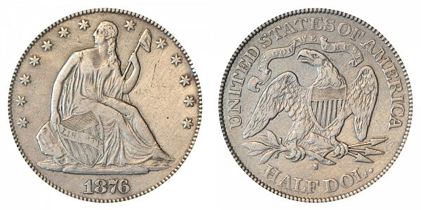 1876 S Seated Liberty Half Dollar