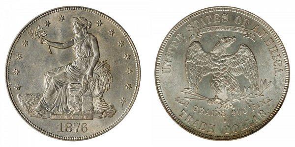 1876 S Trade Silver Dollar - Type 1 Obverse - Type 2 Reverse