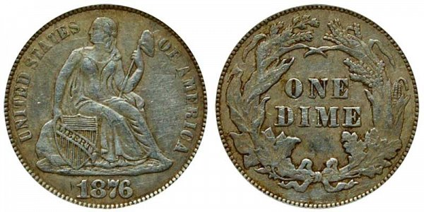 1876 Seated Liberty Dime