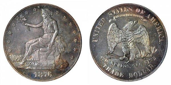 1876 Trade Silver Dollar - Type 1 Obverse - Type 1 Reverse