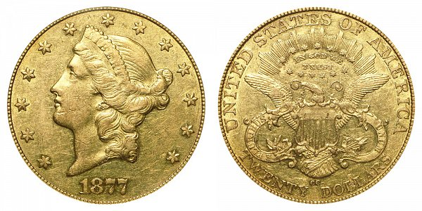 1877 CC Liberty Head $20 Gold Double Eagle - Twenty Dollars