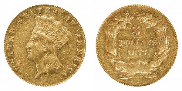 1877 Indian Princess Head $3 Gold Dollars - Three Dollars