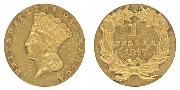 1877 Large Indian Princess Head Gold Dollar G$1