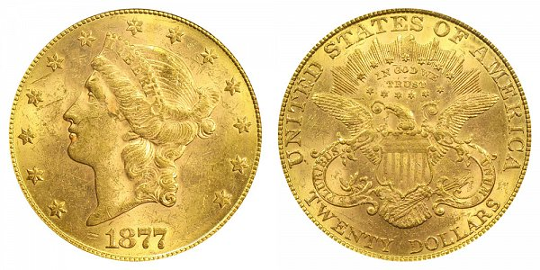 1877 Liberty Head $20 Gold Double Eagle - Twenty Dollars