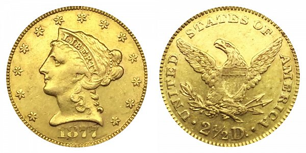 1877 Liberty Head $2.50 Gold Quarter Eagle - 2 1/2 Dollars