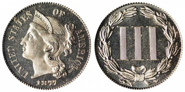 1877 Nickel Three Cent Piece - Proof