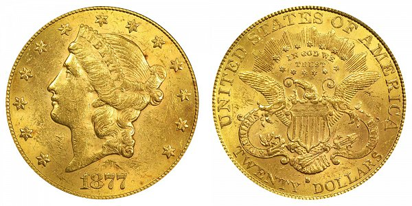 1877 S Liberty Head $20 Gold Double Eagle - Twenty Dollars