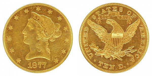 1877 S Liberty Head $10 Gold Eagle - Ten Dollars