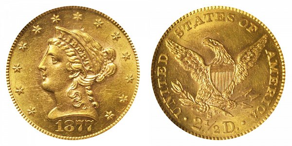 1877 S Liberty Head $2.50 Gold Quarter Eagle - 2 1/2 Dollars