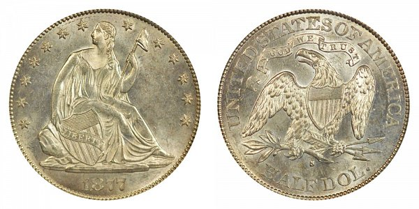 1877 S Seated Liberty Half Dollar