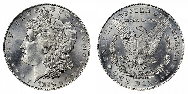 1878 Morgan Silver Dollar - 7 Tail Feathers - Reverse of 1878