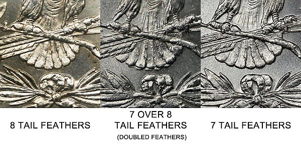 1878 Morgan Silver Dollar - 7 Tail Feathers vs 7/8 Doubled Tail Feathers 8 Tail Feathers - Difference and Comparison