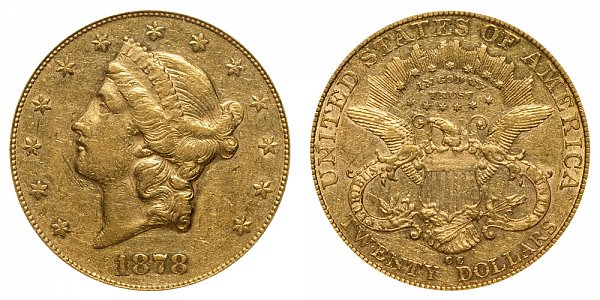 1878 CC Liberty Head $20 Gold Double Eagle - Twenty Dollars