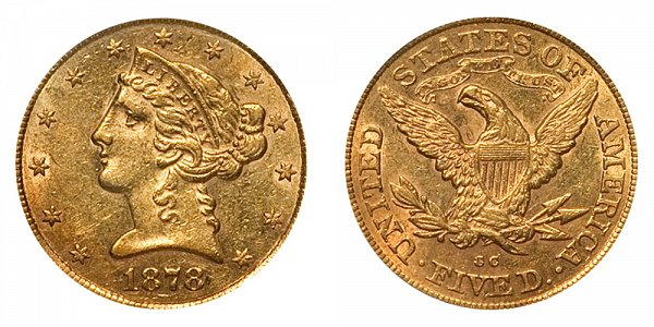 1878 CC Liberty Head $5 Gold Half Eagle - Five Dollars