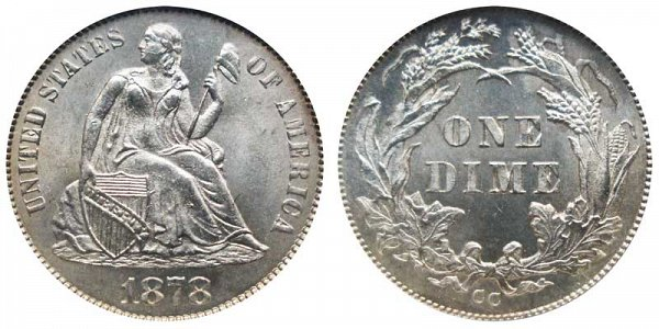 1878 CC Seated Liberty Dime