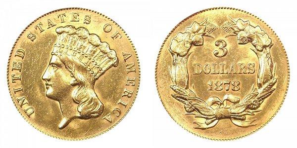 1878 Indian Princess Head $3 Gold Dollars - Three Dollars