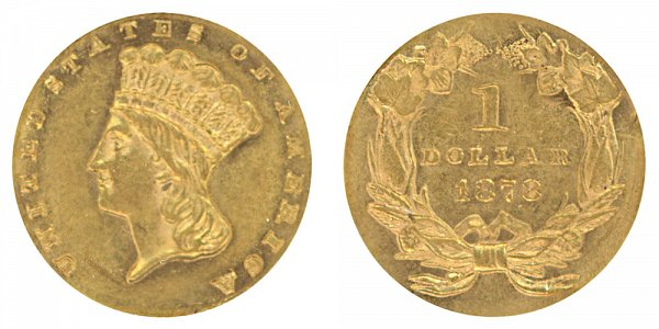 1878 Large Indian Princess Head Gold Dollar G$1