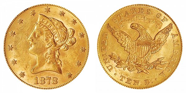 1878 Liberty Head $10 Gold Eagle - Ten Dollars