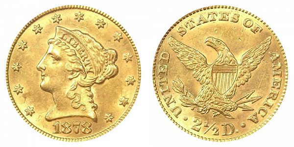 1878 Liberty Head $2.50 Gold Quarter Eagle - 2 1/2 Dollars