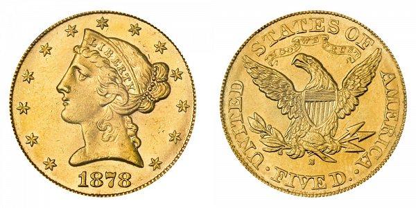 1878 S Liberty Head $5 Gold Half Eagle - Five Dollars