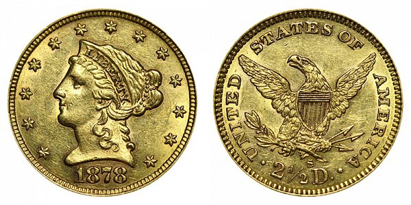 1878 S Liberty Head $2.50 Gold Quarter Eagle - 2 1/2 Dollars