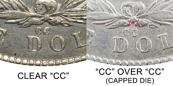 1879 Clear CC vs CC Over CC Capped Die Morgan Silver Dollar - Difference and Comparison