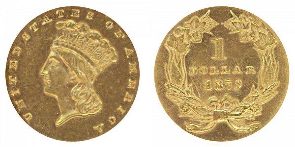 1879 Large Indian Princess Head Gold Dollar G$1