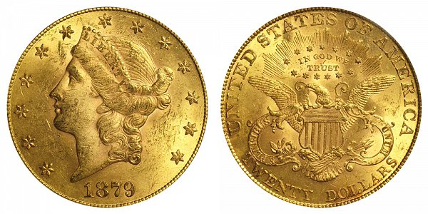 1879 Liberty Head $20 Gold Double Eagle - Twenty Dollars
