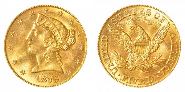 1879 Liberty Head $5 Gold Half Eagle - Five Dollars