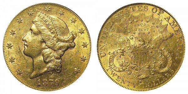 1879 S Liberty Head $20 Gold Double Eagle - Twenty Dollars