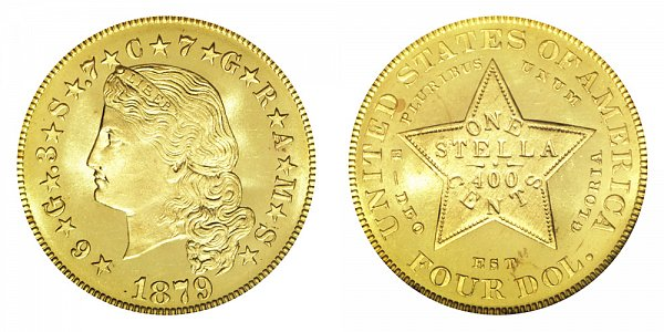 1879 Stella $4 Gold Dollars - Flowing Hair - Four Dollar Coin