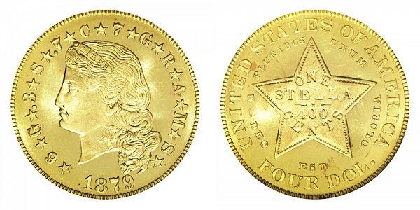 1879 Stella $4 Gold Dollars - Flowing Hair - Four Dollar Coin