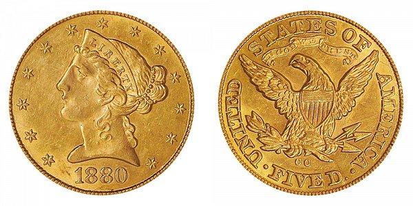 1880 CC Liberty Head $5 Gold Half Eagle - Five Dollars