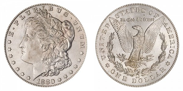 1880 8/7 CC Morgan Silver Dollar - Reverse of 1878 - 8 Over 7 Overdate