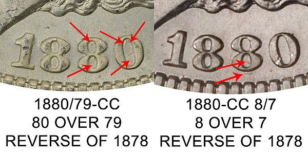 1880/79 CC vs 1880 8/7 CC Morgan Silver Dollar (Reverse of 1878) - Difference and Comparison