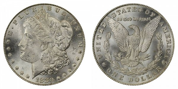 1880 8/7 CC Morgan Silver Dollar - Reverse of 1879 - 8 Over High 7 Overdate