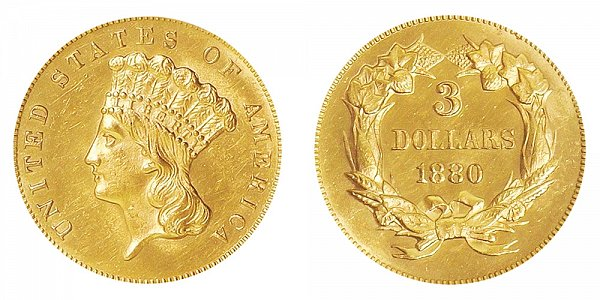1880 Indian Princess Head $3 Gold Dollars - Three Dollars