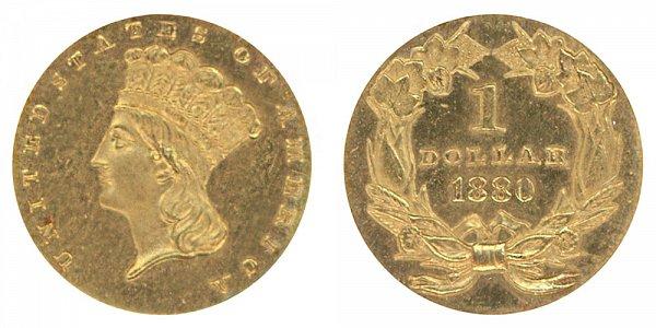 1880 Large Indian Princess Head Gold Dollar G$1