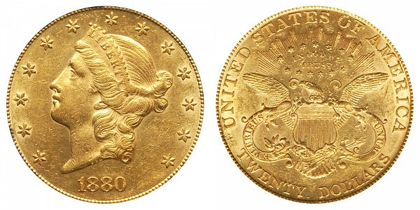 1880 Liberty Head $20 Gold Double Eagle - Twenty Dollars