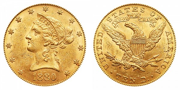 1880 Liberty Head $10 Gold Eagle - Ten Dollars