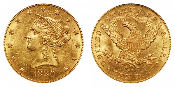 1880 O Liberty Head $10 Gold Eagle - Ten Dollars
