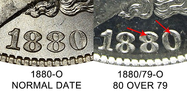 1880 O Normal Date vs 1880/79 80 Over 79 Morgan Silver Dollar - Difference and Comparison