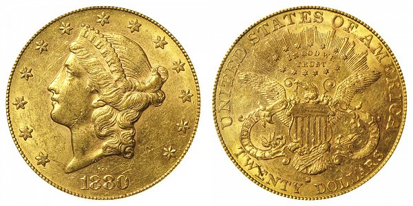 1880 S Liberty Head $20 Gold Double Eagle - Twenty Dollars