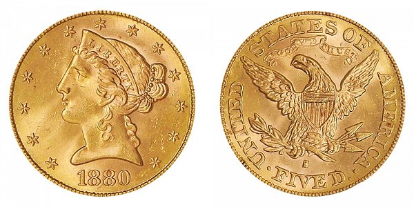1880 S Liberty Head $5 Gold Half Eagle - Five Dollars
