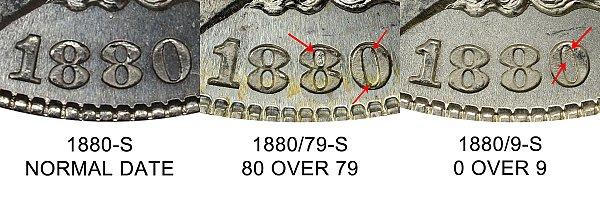 1880 S Normal Date vs 1880/79 vs 1880/9 Morgan Silver Dollar - Difference and Comparison
