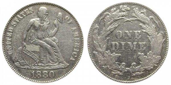 1880 Seated Liberty Dime