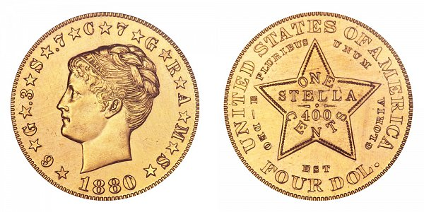 1880 Stella $4 Gold Dollars - Coiled Hair - Four Dollar Coin